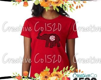 Elephant Monogrammed T-Shirt | Custom Tee |  TShirt With Sayings | Tees | Lettered TShirt | TShirts | Custom Shirt | Tops | Monogrammed Tee