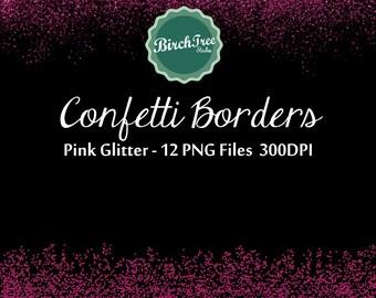 Pink Confetti Glitter Clipart - Digital Glitter Borders - Invitation - Scrapbooking - Christmas Decoration - Paper -  Border