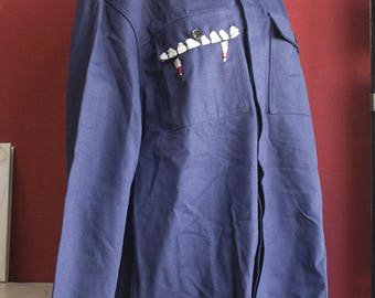 Vintage Work Jacket Blue with hand embroiedered pocket Dracula Theme