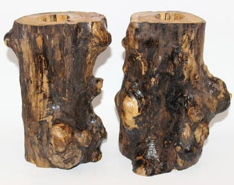 Set of 2 driftwood tea light candle holders - lot, centerpiece, eco friendly, reclaimed, repurposed, upcycled