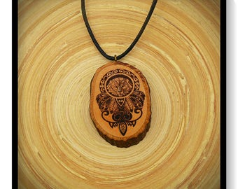 "Soul slices ""Maori, Polynesian, Tiki 3"" wood necklace, vintage * Ethno * hippie * MUST have * statement *"