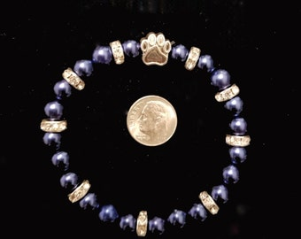 Paw print cobalt blue clear crystal sparkles bracelet remembrance memory customizable size