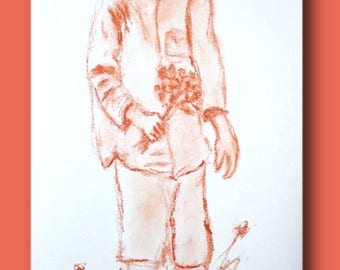 Sketch of a little boy with hat with flowers