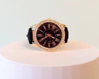 Black watch with rhinestones