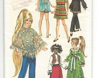 "Vintage 15-1/2"" Doll Pattern Simplicity 9138 Wardrobe for teen dolls, Velvet Doll, dress, pants, poncho, bolero, nightgown, blouse, panties"