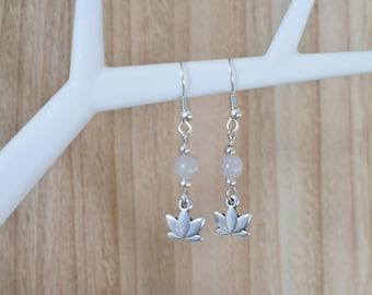 Lotus Earrings | Agate Stone Bead | Bohemian Style | DQ Metal Nickel Free | Boho Duck | Gemstone