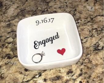 Engagement ring dish. Ring dish engagement. Ring dish personalized. Engaged ring dish. Engagement gift. Mrs ring dish. Jewelry ring dish.