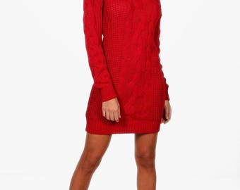 Roll Neck Cable Knit Dress - Acrylic Knit Turtleneck Knit Dress