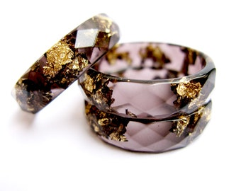 Black Resin Ring With Gold Flakes, Jewellery Gift, Resin Stacking Ring, Minimal Resin Jewelry, Handmade ring
