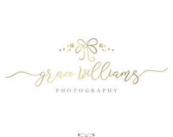 Bow Logo, Photography Logo, Bow Watermark Logo, Gold Boutique Logo, Handwritten Logo, Baby Logo, Photography Watermark, Photography Branding
