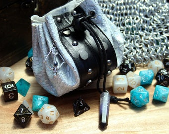 Dungeons and Dragons RPG LARP Deluxe Dice Bag Black and Silver Dragon Skin Vegan Faux Leather