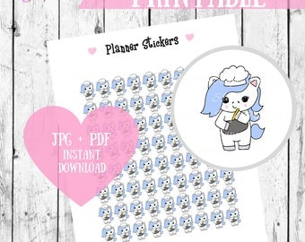 Unicorn Cooking Printable Planner Stickers, Kawaii Stickers, Cute Printables, Planner Schedule stickers, Unicorn digital stickers