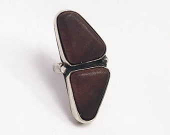 Black Walnut sterling silver double ring size 5.5