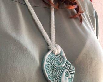 Hand painted ceramic pendant teal