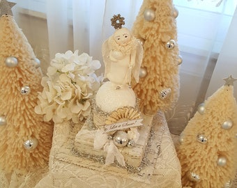 Vintage Folk Art Christmas Angel on Box Table Top Christmas Decoration Winter Let It Snow