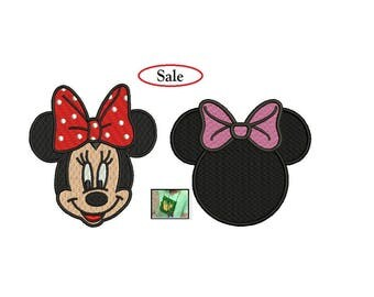 Minnie Embroidery Design - 2 designs of Minnie machine embroidery INSTANT DOWNLOAD