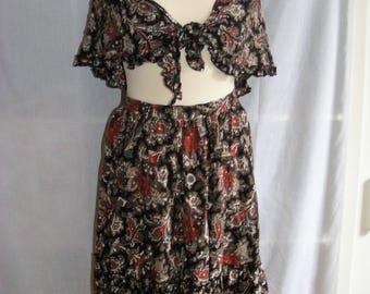 Vintage St Michael Skirt and Scarf set - UK 10 - Hippy Boho Gypsy Print skirt