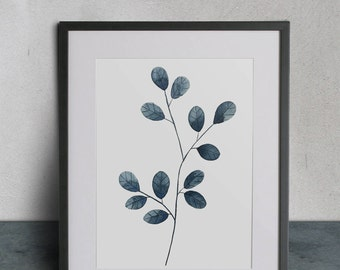 Blue Leaves, Watercolor Painting, 8x10 Print