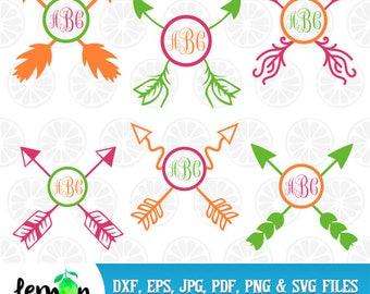 Boho Monogram, Arrow monogram, Tribal arrow svg, monogram frames, circle frame svg, boho svg,circle frame,  instant download, cap 03