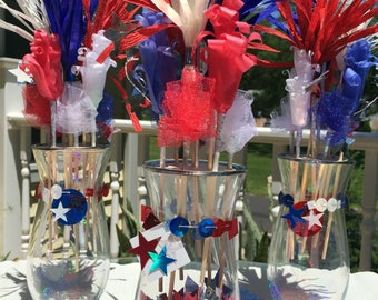 Self Customizing Red White and Blue Center Piece | 4th of July Party Decoration | Patriotic Home Decor