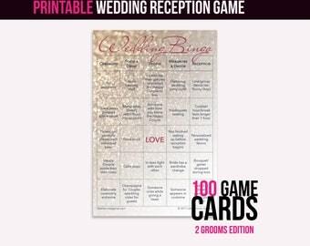 Wedding Bingo Instant Download (2 Grooms): The Wedding Reception Game (100 cards)