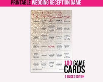 Wedding Bingo Instant Download (2 Brides): The Wedding Reception Game (100 cards)