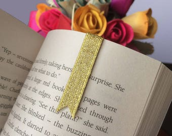 One Gold Ribbon Magnetic Bookmark | Page Marker | Clip | Flag | Tracker | Mini