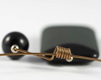 Onyx necklace, Onyx jewelry, Stone necklace, Black onyx pendant, Bronze necklace, Stone jewelry, Copper jewelry, Copper necklace, Woman gift