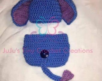Crochet Eeyore-Inspired Newborn Photography Prop-Disney Inspired-Costume-Diaper Cover and Hat