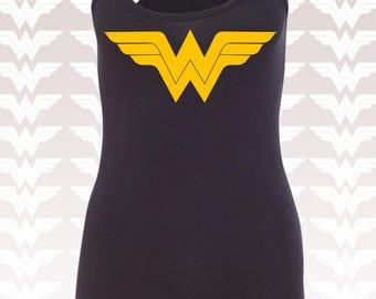 Wonder Woman Shirt. Wonder Woman Tank Top. Running Tank Top. Wonder Woman Marathon Gold Shimmer WW Logo. Costume. Workout Tank Top. S - 2XL.