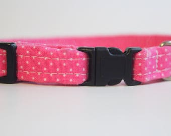 Pink Cat Collar with Tiny White Polka Dots | Handmade | Adjustable