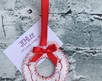 Christmas, Felt Tree Ornaments Wreaths