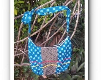 Blue and Brown Shweshwe Hip Cross Over bag