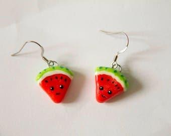 Watermelon, watermelon, earrings, earrings, fimo, polymer clay, clay polymer, cute, kawaii, food