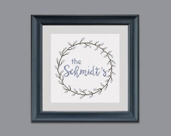 Wedding cross stitch pattern. Personalized wedding gift DIY. Pussy willow wreath. Modern cross stitch pattern PDF. Pussy willow cross stitch