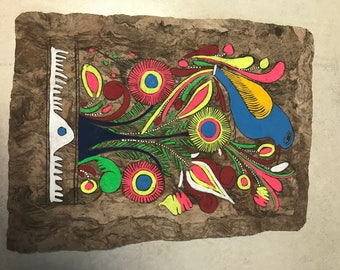Vintage folk art #2 on tree bark