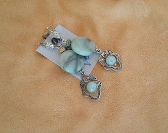 Earrings with aquamarine, Amazonite, and Participantses