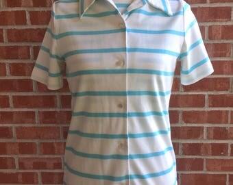 Vintage Donovan Galvani 60s 2-piece white and blue striped button down. Size small