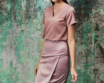 Maarimaia Asymmetrical Wrap Front Skirt in Dusty Rose | Minimalist Skirt | Midi Skirt| Office Wear| Pencil Skirt| Below the Knee Skirt