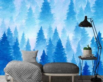 Removable Wallpaper Mural Peel & Stick Watercolor Landscape of Foggy Forest