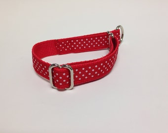 Limited Slip Dog Collar, Small Red Limited Slip Collar, Small Polka Dots Limited Slip Dog Collar, Small Adjustable Polka Dots Dog Collar
