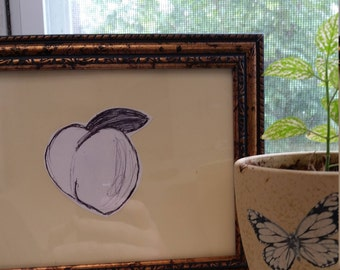 Peach {whimsical hand drawn kitchen art}