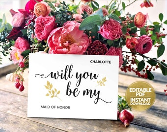 Editable PDF INSTANT DOWNLOAD Will You Be My Bridesmaid Maid of Honor Ask to be Flower Girl Wedding Digital Printable pdf Files WB9