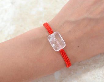 Red string Amulet Bracelet Rhinestone bracelet Crystal bracelet Bracelet macrame Rhinestone jewelry Ideal gift Protection amulet raw stone
