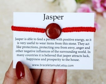 Red Jasper Bracelet Energy bracelet Protection gemstone Gemstone bracelet Dainty bracelet Jasper jewelry Lucky bracelet Womens gift