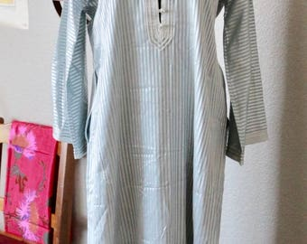 Vintage Moroccan Kaftan, Light Blue Striped Kaftan, Moroccan Caftan