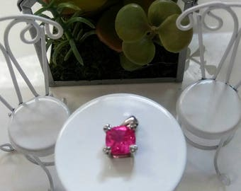 Hot Pink Lab Sapphire Sterling Silver Pendant