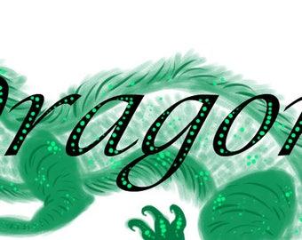 Fine Art Illustration Digital Print of Dragon Header