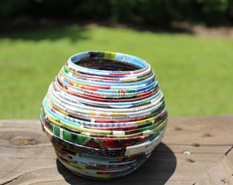 Recycled paper vase, Magazine Bowl, Recycled Pencil Cup, Paper mache bowl, Recycled containers, Recycled home decor