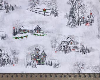 Quilting Treasures Home for the Holiday 25897 Houses with Snow Cardinals Cotton Fabric By the Yard